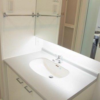 洗面台もイマドキでステキ。※写真は反転の間取りの別部屋です