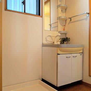 独立洗面台と洗濯パン。窓で換気もできて◎(※写真の小物は見本です)