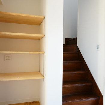 階段上って2階へ!