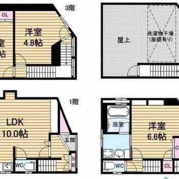 3階建のお家です。