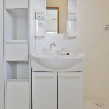 洗面横の棚はありがたい。