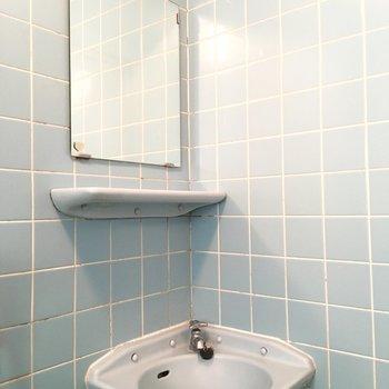 バスルーム、入って目の前に洗面台。