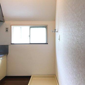 キッチンの後ろには冷蔵庫・洗濯機スペース。