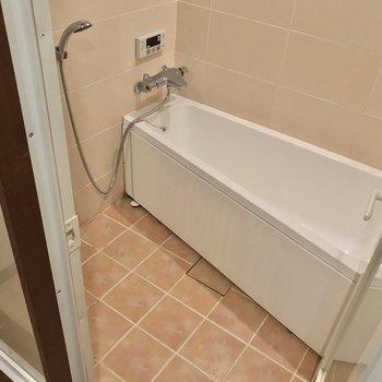 浴槽は三角形の変わったかたち。開放的。(※写真は清掃前のものです)
