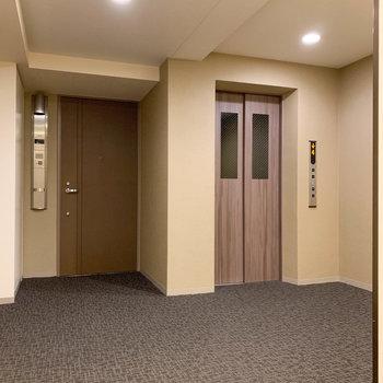 エレベーター周りもゆったりとしています。