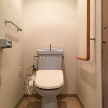 蓋だけ白の水色トイレ。手前に収納が埋め込まれていました。※写真は3階の同間取り別部屋ものです