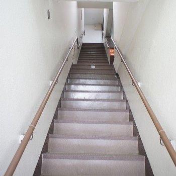 玄関に向かう階段です