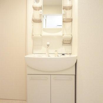 洗面台はドレッサータイプ。使いやすそう。