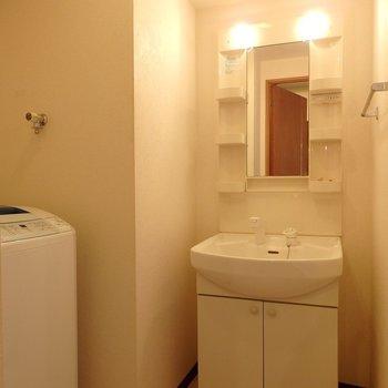 独立洗面台もありますよ(※写真は2階の同間取り別部屋のものです)