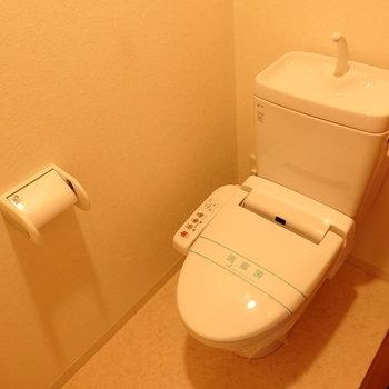 トイレにはウォシュレットも(※写真は2階の同間取り別部屋のものです)
