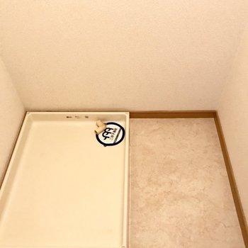 洗濯機の横に小さめのラックを置けそう。(※写真は5階の同間取り別部屋のものです)