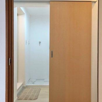 洋室を出て廊下挟んで向かいに脱衣所。