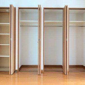 【LD】棚付きとハンガーポール付き、使い分けが出来る!※写真は3階の同間取り別部屋のものです