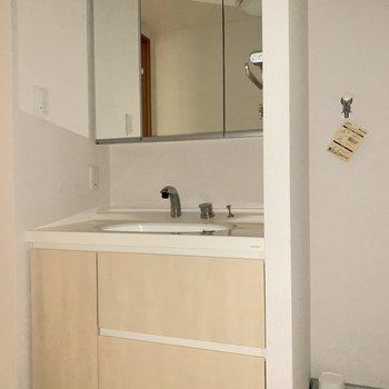 鏡の後ろにも収納出来る洗面台。※写真は3階の同間取り別部屋のものです