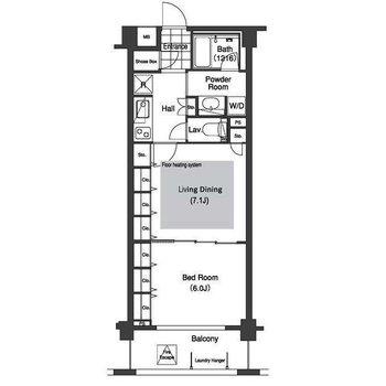 シンプルな間取りの1LDKのお部屋です。※間取り図は反転のものです