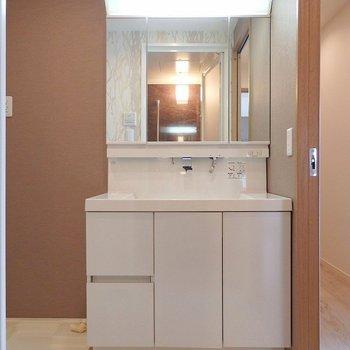 洗面台は二人で立っても余裕なビッグサイズ。