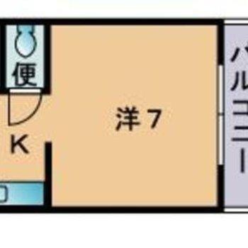 1人暮らし向けのコンパクトな1Kのお部屋。