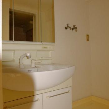 洗面台はピカピカ*フラッシュ撮影です