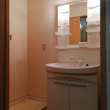 脱衣所はお風呂の準備も朝の準備もしやすい広さ。