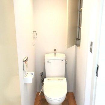 トイレは左にウォッシュレット+奥行きのある収納付き!