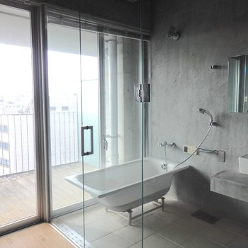 お風呂に入りながらルーフバルコニーを眺められます!