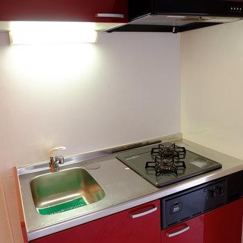 2口コンロで調理スペースもあり!