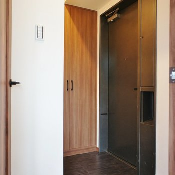 玄関はこんな感じ。大きなシューズボックスも