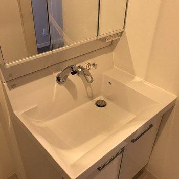 洗面台のデザインもシャープな感じ。※写真は同じ間取りの別部屋