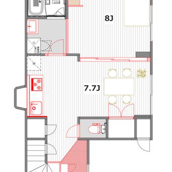 2人暮らしにちょうどいいサイズ※2階に上がる階段は昇り降りができなくなります