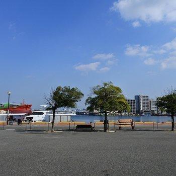 前の広場。晴れた日には潮風が心地よいでしょう。