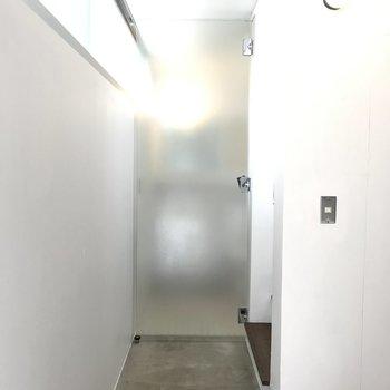 水回りを区切るのはセクシーな曇りガラスのドア。
