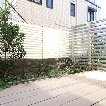一階には植栽つきのウッドデッキ!