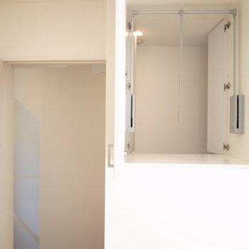洋室の収納は玄関の方からも開けられるようになっています。※写真は別部屋です