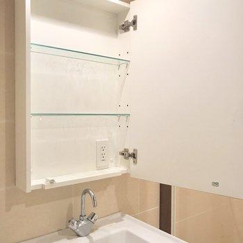 鏡の中にコンセントが2口ありました。(※写真は6階の反転間取り別部屋、清掃前のものです)