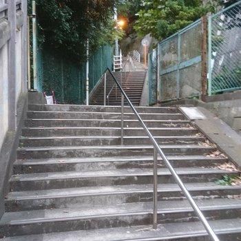 横浜からの道中も階段になっています。