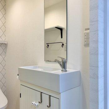 洗面ボウル内に化粧水などが置けるスペースがありました。