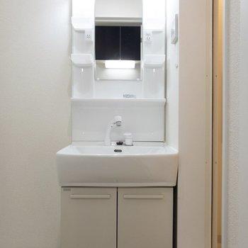 サニタリースペースへ。綺麗な洗面台に......※写真は1階の同間取り別部屋のものです