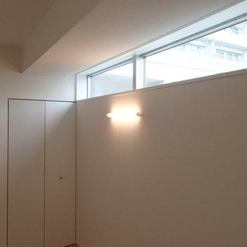 ぽつんと壁に蛍光灯がありました。