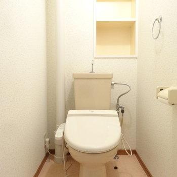 トイレはウォシュレット完備にかわいい棚付き。フレグランス物とか置きたいな。※写真はクリーニング前です。