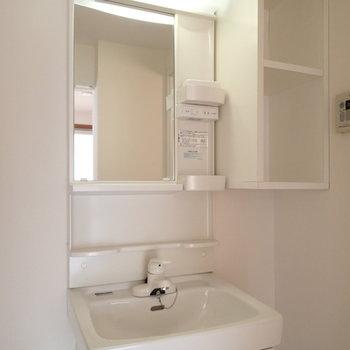 洗面台はコンパクト。横の棚に真っ白なタオル置きたいですね。