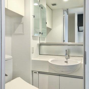 大きな鏡の洗面台があります。※写真は5階の同間取り別部屋のものです