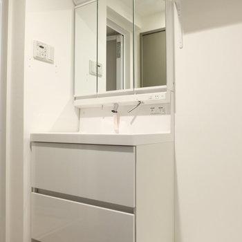 洗面台おおきい!※写真は反転間取り別部屋のものです
