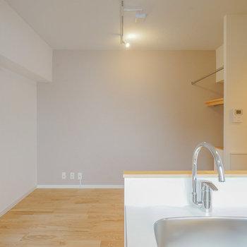 壁側にテレビを置けば、洗い物しながら見れちゃいます