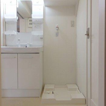 洗濯機はもちろん室内。