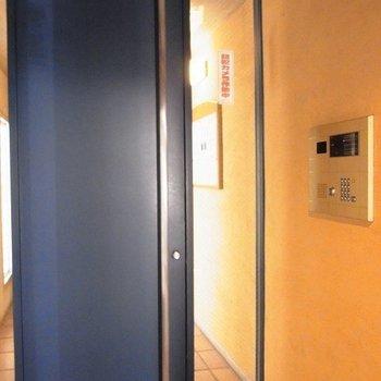 黒塗り扉のオートロック。
