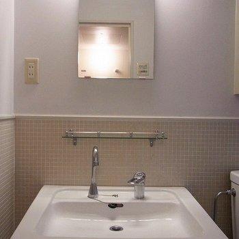 洗面台の上には小さな棚が。※写真は別部屋です
