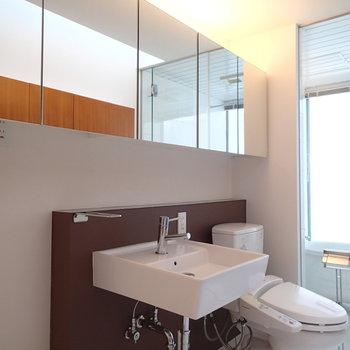 洗面台という長めの鏡に洗面器置いた感じ