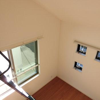 大きさの違う窓がたくさん!! ロフトからの眺め。