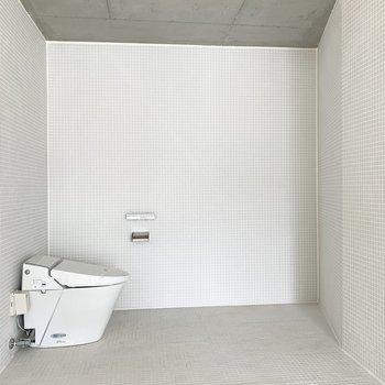 向かいには、開放的すぎるトイレ。