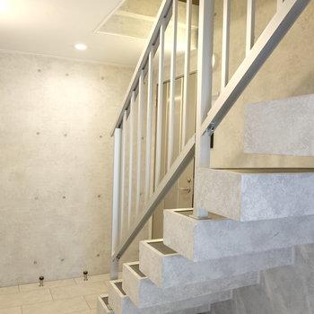 共有部の階段もコンクリでクール
